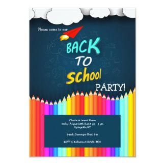 Colorido de volta ao convite de festas da escola