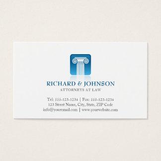 Coluna azul da empresa de advocacia do procurador cartão de visitas