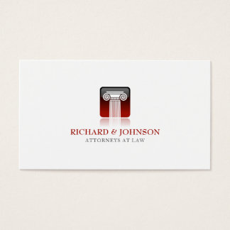 Coluna vermelha da empresa de advocacia do cartão de visitas