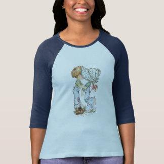 """""""Com azul do t-shirt do Raglan da luva de ¾ do Camiseta"""