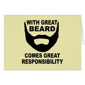 Com grande barba vem a grande responsabilidade cartão comemorativo