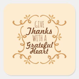 Com um selo grato da etiqueta da acção de graças  