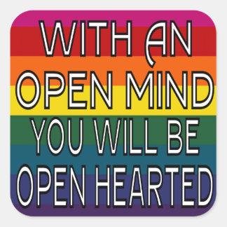 Com uma mente aberta você será Hearted aberto Adesivo Quadrado
