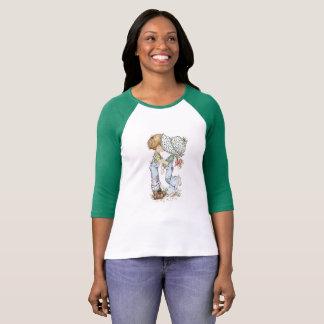 """""""Com verde do t-shirt do Raglan da luva de ¾ do Camiseta"""