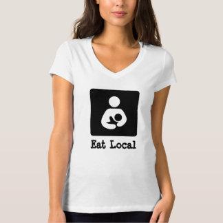 Coma a amamentação do Local/ícone dos cuidados Camisetas
