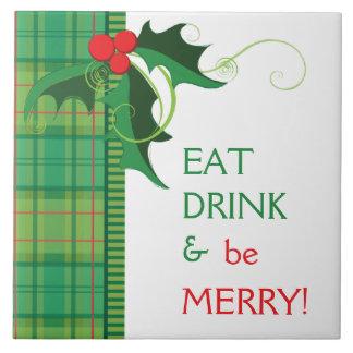 Coma a bebida e seja azulejo alegre Trivet