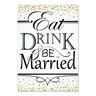 Coma a bebida e seja design casado do convite