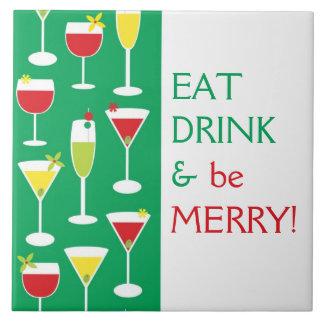 Coma a bebida e seja grande azulejo alegre Trivet