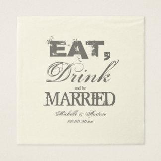 Coma a bebida e seja guardanapo casados do