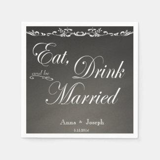 Coma a bebida e seja guardanapo casados do quadro