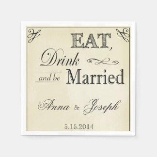 Coma a bebida e seja guardanapo casados do vintage