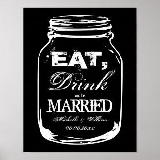 Coma a bebida e seja posters casados do casamento pôster