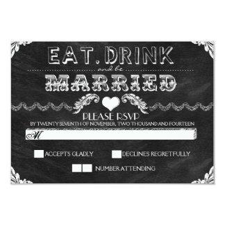 coma a bebida e seja quadro casado que wedding convite 8.89 x 12.7cm