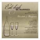 Coma a bebida seja mostra de prata casada do casam convite personalizado
