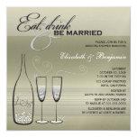 Coma a bebida seja mostra de prata casada do convite personalizado