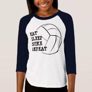 Coma a camisa do Raglan do voleibol da repetição