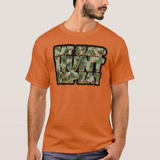 Coma a camiseta engraçada dos homens da repetição