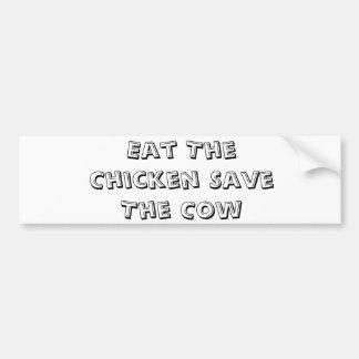 Coma as economias da galinha a vaca adesivo para carro