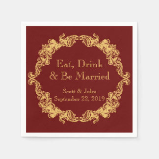 Coma, bebida e seja guardanapo casados do
