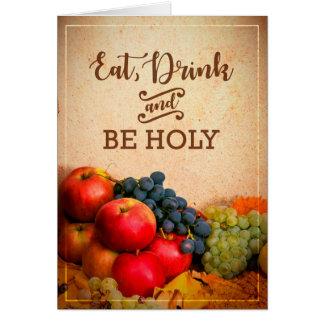 Coma, bebida & seja banquete santamente do cartão