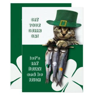 Coma, bebida & seja convite do dia de St Patrick