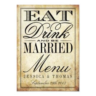 Coma, bebida & seja menus casados do casamento convite 11.30 x 15.87cm