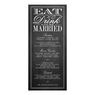 Coma, bebida & seja menus casados do casamento do 10.16 x 22.86cm panfleto