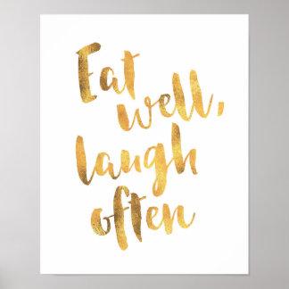 Coma bem o poster do typographyquote do ouro do