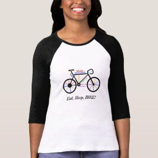 Coma, durma, BIKE! Palavras inspiradores do T-shirt