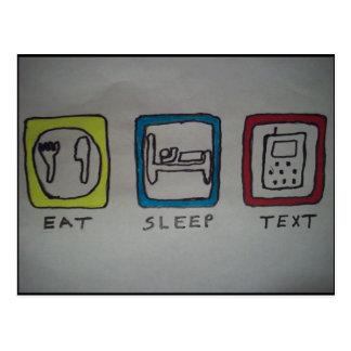 coma, durma, texting o cartão