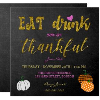 Coma e beba o convite de festas da acção de graças