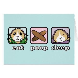 Coma o cartão de cumprimentos da cobaia do sono do