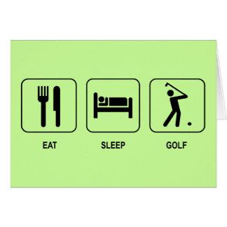 Coma o cartão do golfe do sono