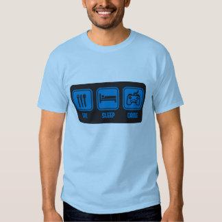 Coma o jogo do sono no t-shirt engraçado azul do