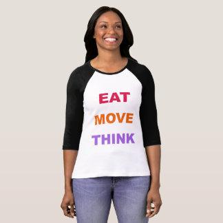 Coma o movimento pensam a camisa do Raglan das