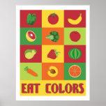 Coma o poster das frutas e legumes das cores