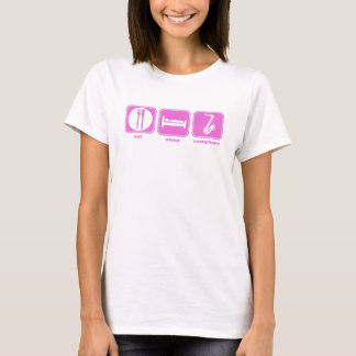 coma o rosa do saxofone do sono camiseta