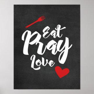 Coma Pray o amor - cozinha - poster preto Pôster