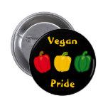 Coma seu botão do orgulho do Vegan das pimentas do Bóton Redondo 5.08cm