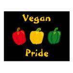 Coma seu cartão do orgulho do Vegan das pimentas d Cartão Postal