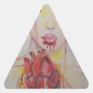 Coma seu coração out.jpg adesivo triangular