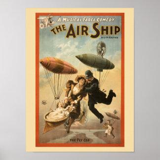 Comédia musical do vintage o navio do ar pequeno impressão