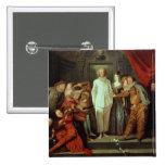 Comediantes italianos, c.1720 bóton quadrado 5.08cm