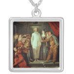 Comediantes italianos, c.1720 colar com pendente quadrado