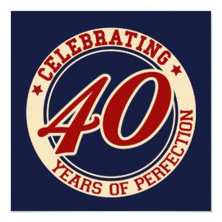 Comemorando 40 anos de perfeição convite quadrado 13.35 x 13.35cm