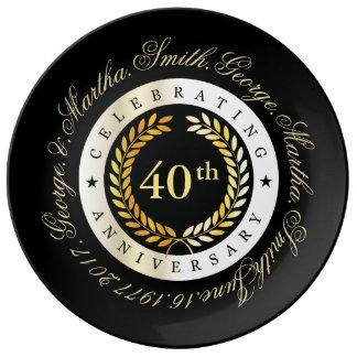 Comemorando o 40th aniversário pratos de porcelana