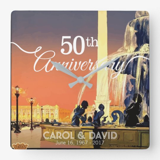 Comemorando o 50th aniversário. Vintage Paris Relógios De Paredes