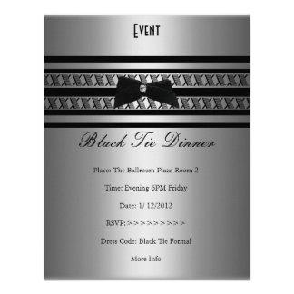Comensal formal elegante do cinza de prata do traj convite personalizado