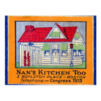 Comensal retro da cozinha de Nan do Matchbook do Cartão Postal