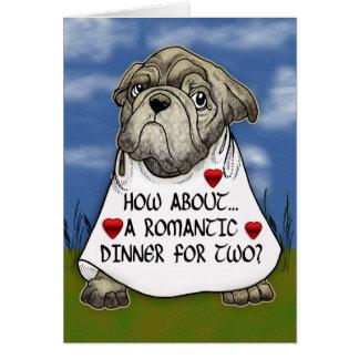Comensal romântico do cão para o cartão dois